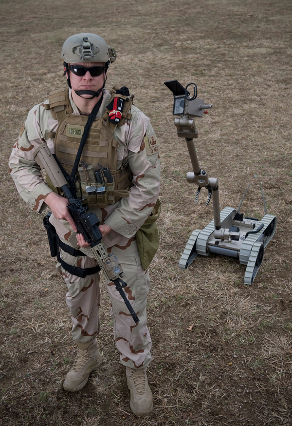 Soldier with Packbot